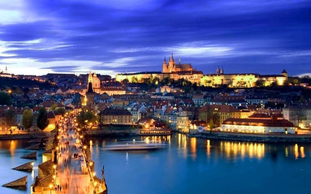 View of Prague on the Vitala River at night
