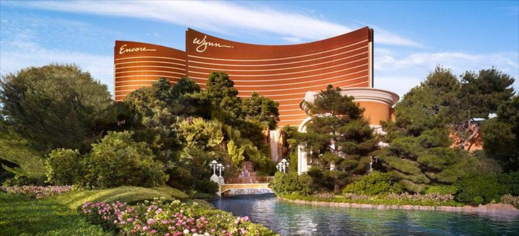 View of Wynn and Encore Towers in Las Vegas from the gardens.