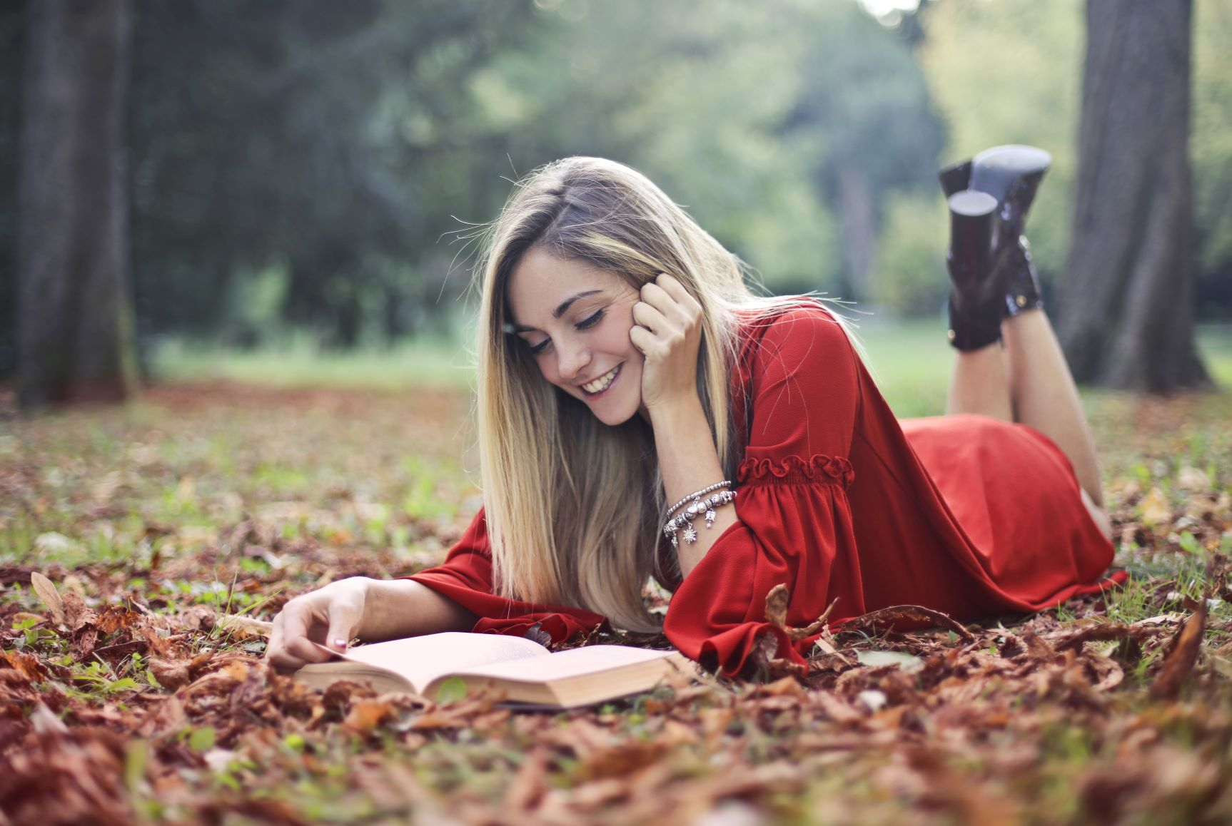 Woman reading in park